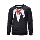Fancy Hand Butterfly Blazer Tie Print Contrast Hem Round Neck Long Sleeve Black Pullover Sweatshirt