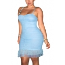 Summer New Fashion Light Blue Spaghetti Strap Polka Dot Mesh Mini Bodycon Slip Dress