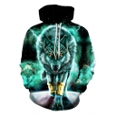 Black and Green 3D Galaxy lightning Wolf Print Long Sleeve Regular Fitted Hoodie with Drawstring