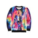 New Fashion Michael Jackson 3D Character Print Tie Dye Round Neck Long Sleeve Unisex Pullover Sweatshirt