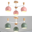 Nordic Style Green/Pink Chandelier Globe 3 Lights Metal Wood Suspension Light for Kitchen