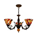 Bowl Shade Dining Room Chandelier Stained Glass 3 Lights Rustic Style Chandelier Light