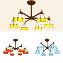 Dining Rom Dome Shade Chandelier Glass 6 Lights Tiffany Style Blue/Orange/Yellow Hanging Lamp