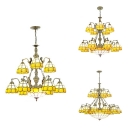 Yellow Dome Shade Chandelier 10/14/19 Lights Vintage Style Glass Ceiling Light with Mermaid for Villa