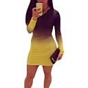 Summer Omber Round Neck Long Sleeve Mini Bodycon Dress