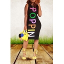 Hot Fashion POPPIN Letter Black Round Neck Sleeveless Midi Bodycon Dress