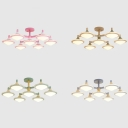 Creative Macaron Colored Ceiling Light 7 Lights Metal Semi Flush Mount Light for Living Room