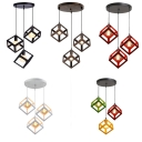 Metal Square Cage Ceiling Light Dining Room Kitchen 3 Lights Industrial Hanging Light