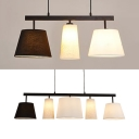 Bedroom Tapered Shade Island Pendant Living Room Fabric 3/5 Lights Contemporary Black & White Hanging Lamp