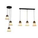 Frosted Glass Bell Pendant Lighting 3 Lights American Rustic Island Light with Linear/Round Canopy for Kitchen