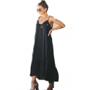 Basic Simple Plain V-Neck Sleeveless Backless Casual Loose Midi Slip Dress For Women