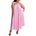 Hot Fashion Sexy Spaghetti Straps Sleeveless Plain Casual Loose Midi Swing Pink Dress