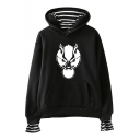 New Popular Wolf Head Printed Striped Fake Two-Piece Loose Casual Hoodie