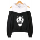 Popular Wolf Head Printed Cold Shoulder Long Sleeve Loose Relaxed Hoodie