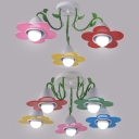 Colorful Flower Semi Flush Mount Light 3/5 Lights Lovely Metal Light Fixture for Child Bedroom