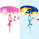 Star Moon Flush Ceiling Light with Toy Monkey Cute Metal Light Fixture in Blue/Pink for Kid Bedroom