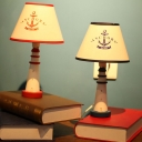 Resin Tapered Shade Desk Light with Anchor 1 Light Modern Study Light in Blue/Red for Study Room