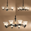 Bell Shade Study Room Pendant Light Frosted Glass 3/6/8 Lights Vintage Style Chandelier in White