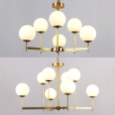 6/8 Lights Globe Chandelier Elegant Style Frosted Glass Hanging Light in Brass for Study Room