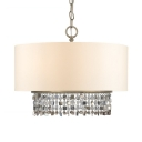 American Rustic Drum Chandelier 5 Lights Fabric Hanging Light with Crystal Decoration for Dining Room