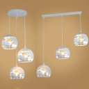 Metal Globe Pendant Light Dining Room 3 Lights Industrial Linear/Round Canopy Hanging Lamp in White