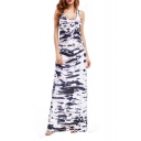 Women's Trendy Scoop Neck Sleeveless Printed Racerback Maxi Tank White Dress
