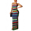 Women's Fashionable Off The Shoulder Rainbow Stripes Floral Printed Backless Bodycon Maxi Dress