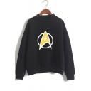 Fashion Logo Printed Basic Mock Neck Long Sleeve Casual Loose Sweatshirt