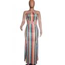 Women's Lovely Halter Neck Sleeveless Stripes Printed Backless Cutout Detail Split Side Maxi Tank Green Dress