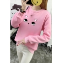 Cartoon Lovely Eyes Printed Round Neck Long Sleeve Sweatshirt