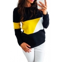 Womens Colorblock Round Neck Long Sleeve Sweatshirt