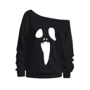 New Stylish One Shoulder Cartoon Graffiti Printed Long Sleeve Casual Sweatshirt