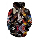 Guys Cool 3D Pattern Long Sleeve Casual Loose Pullover Drawstring Hoodie