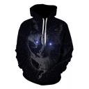 New Trendy Black Galaxy Cat Printed Long Sleeve Sport Casual Drawstring Hoodie