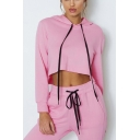Solid Color Long Sleeve Drawstring Cropped Hoodie