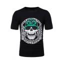 Mens New Trendy Skull Printed Basic Round Neck Short Sleeve Slim Fit T-Shirt