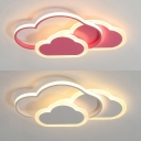 Pink/White Cloud LED Flush Light Lovely Aluminum Ceiling Light in Warm/White for Kindergarten