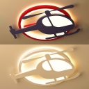 Kid Bedroom Helicopter Ceiling Fixture Metal Simple Style Colorful/White LED Ceiling Mount Light in Warm/White