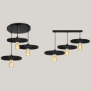 Antique Black Pendant Light Gear 3 Lights Metal Ceiling Light with Linear/Round Canopy for Bar