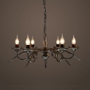 Metal Candle Shape Chandelier 6 Lights Rustic Style Hanging Lamp for Restaurant Dining Room