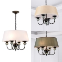 Traditional Drum Shade Hanging Light Fabric 4 Lights Beige/Khaki/White Chandelier for Bedroom