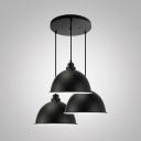 Restaurant Cafe Dome Shade Ceiling Pendant Metal 3 Lights Antique Style Black Hanging Light