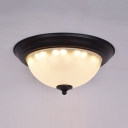2 Lights Bowl Ceiling Mount Light Antique Style Frosted Glass Flushmount in White for Foyer