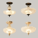 Antique Style Petal Semi Flushmount Fluted Glass 3 Lights Black/Gold Ceiling Light for Hallway