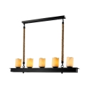American Rustic Fake Candle Ceiling Pendant Rope Metal 5 Lights Black Island Light for Restaurant