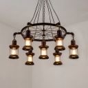 Restaurant Kerosene Hanging Light Metal 7 Lights Industrial Pendant Lamp with Wheel in Rust