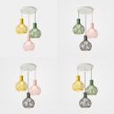 Balcony Wire Frame Suspension Light Metal 3 Lights Nordic Style Macaron Colored Pendant Lamp