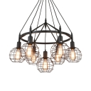 Antique Style Globe Cage Ceiling Light 7 Lights Metal Hanging Lamp in Black for Dining Room