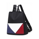 New Fashion Colorblock Anti-theft Black Oxford Cloth Tote Backpack for Women 32*32*14 CM