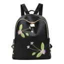 Elegant Floral Dragonfly Embroidered Rivet Embellishment Black PU Leather Leisure Backpack for Ladies 28*25*12 CM
